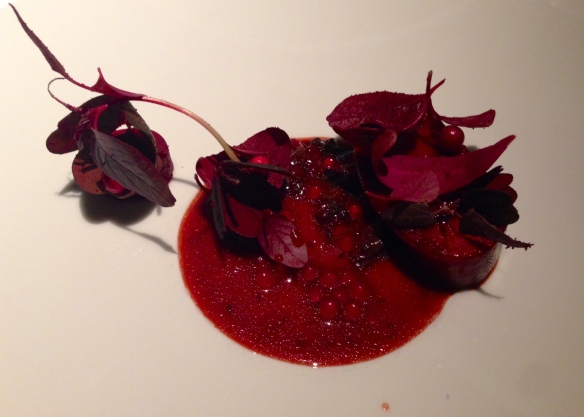 Grilled Tongue of Veal, Red Leaves & Lingon Berries